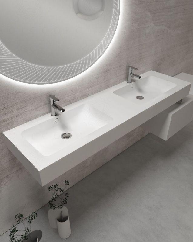 Mensolone su misura con doppio lavabo integrato, da cm.145 fino