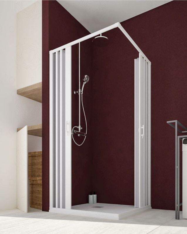 Box doccia rettangolare pvc bianco, cm.80x100