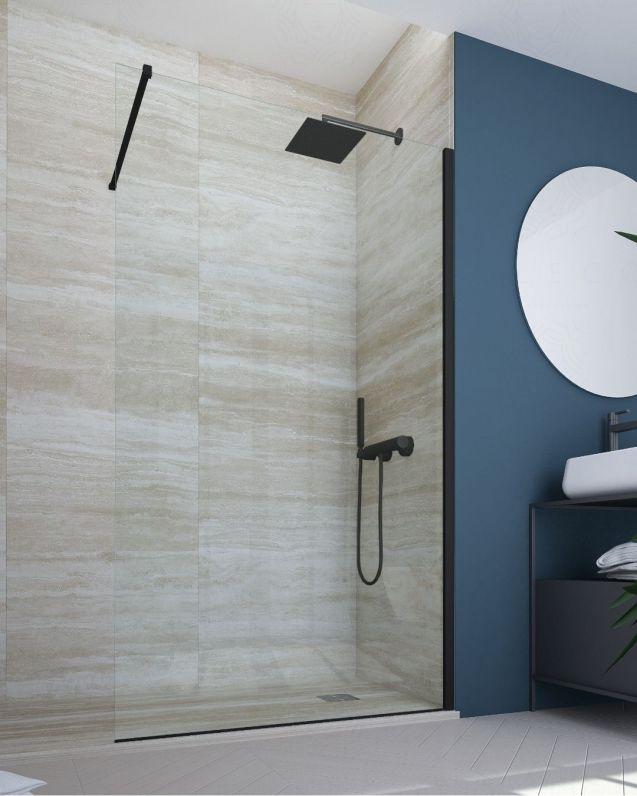 Box doccia walk in, cristallo temperato, cm.100, nero opaco