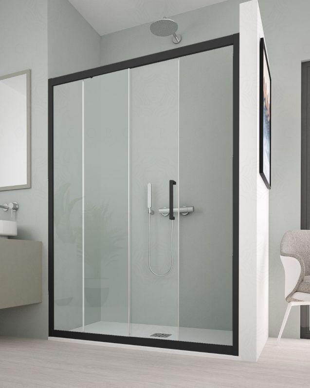 Box doccia nicchia, cristallo temperato, cm.130, nero opaco