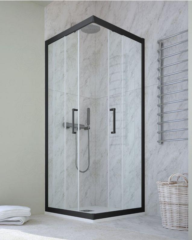 Box doccia quadrato cristallo temperato, cm.70x70, nero opaco