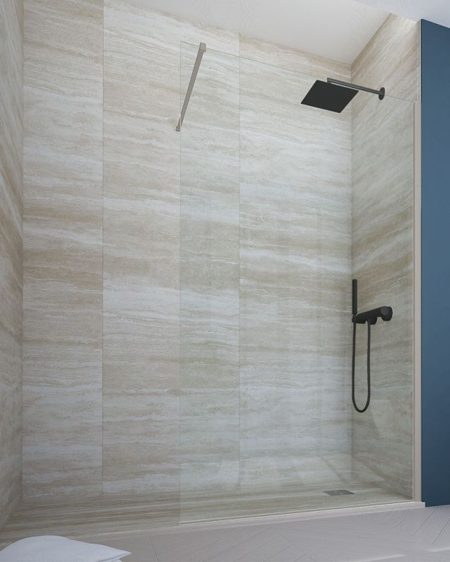 Box doccia walk in, cristallo temperato, cm.90, colorato
