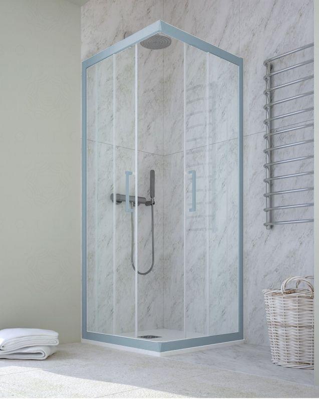 Box doccia rettangolare cristallo temperato, cm.70x110, colorato
