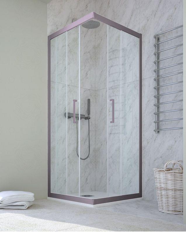 Box doccia rettangolare cristallo temperato, cm.80x110, colorato