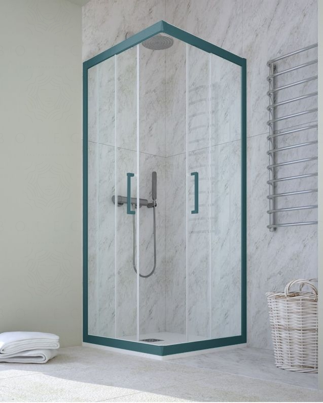 Box doccia rettangolare cristallo temperato, cm.70x100, colorato