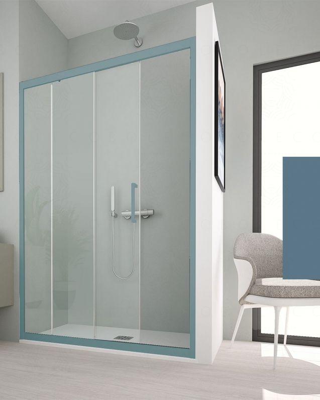 Box doccia nicchia, cristallo temperato, cm.140, colorato