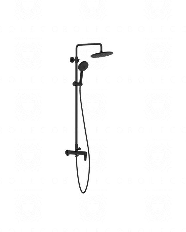 Colonna doccia Nicole nero opaco, completa di soffione e doccino