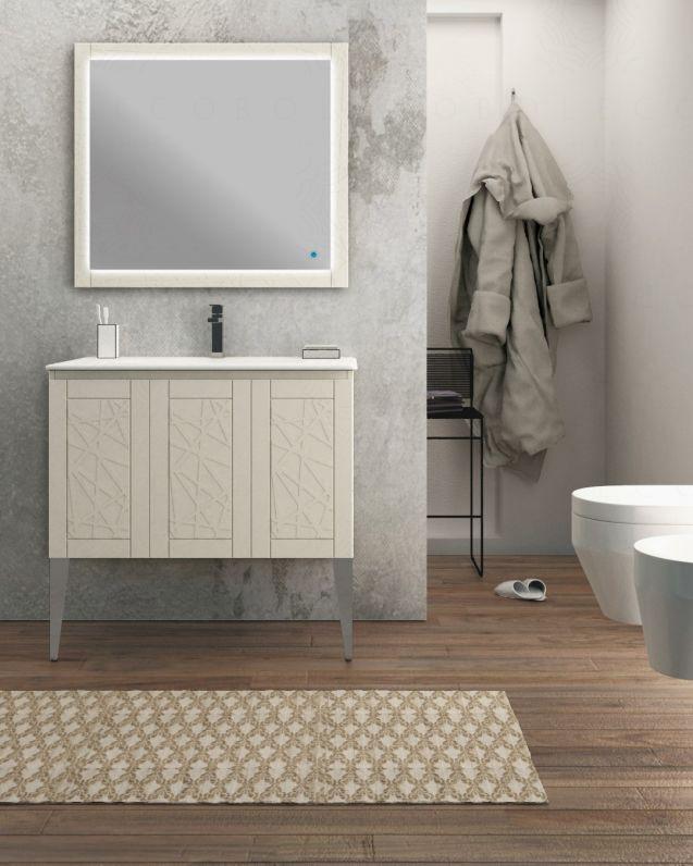 Mobile bagno Beverly crema con piedi, cm.90 e lavabo in ceramica
