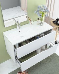 Mobile bagno sospeso Eos bianco opaco, cm.100 completo di