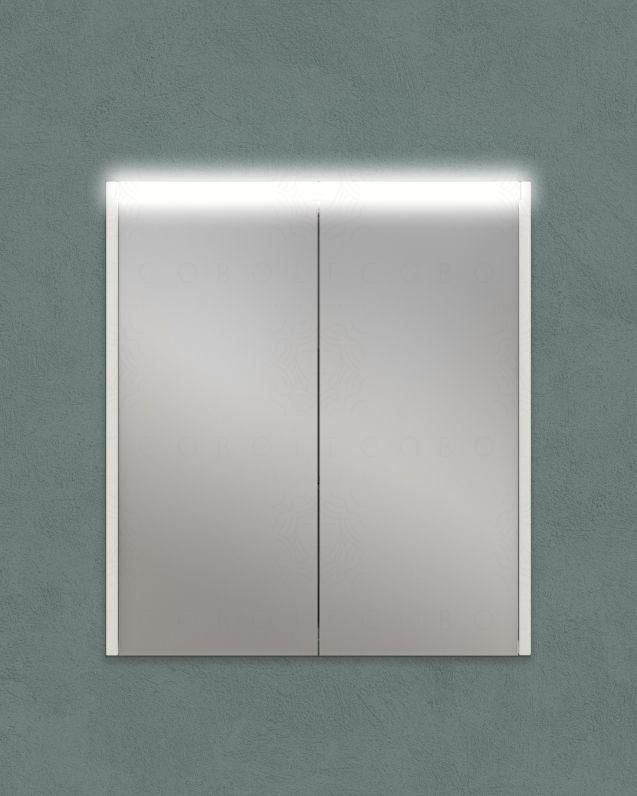 Specchio contenitore con presa ed interruttore, cm.60x67