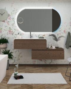 Mobile bagno sospeso Giava con cassettiera, cm.150 e specchio