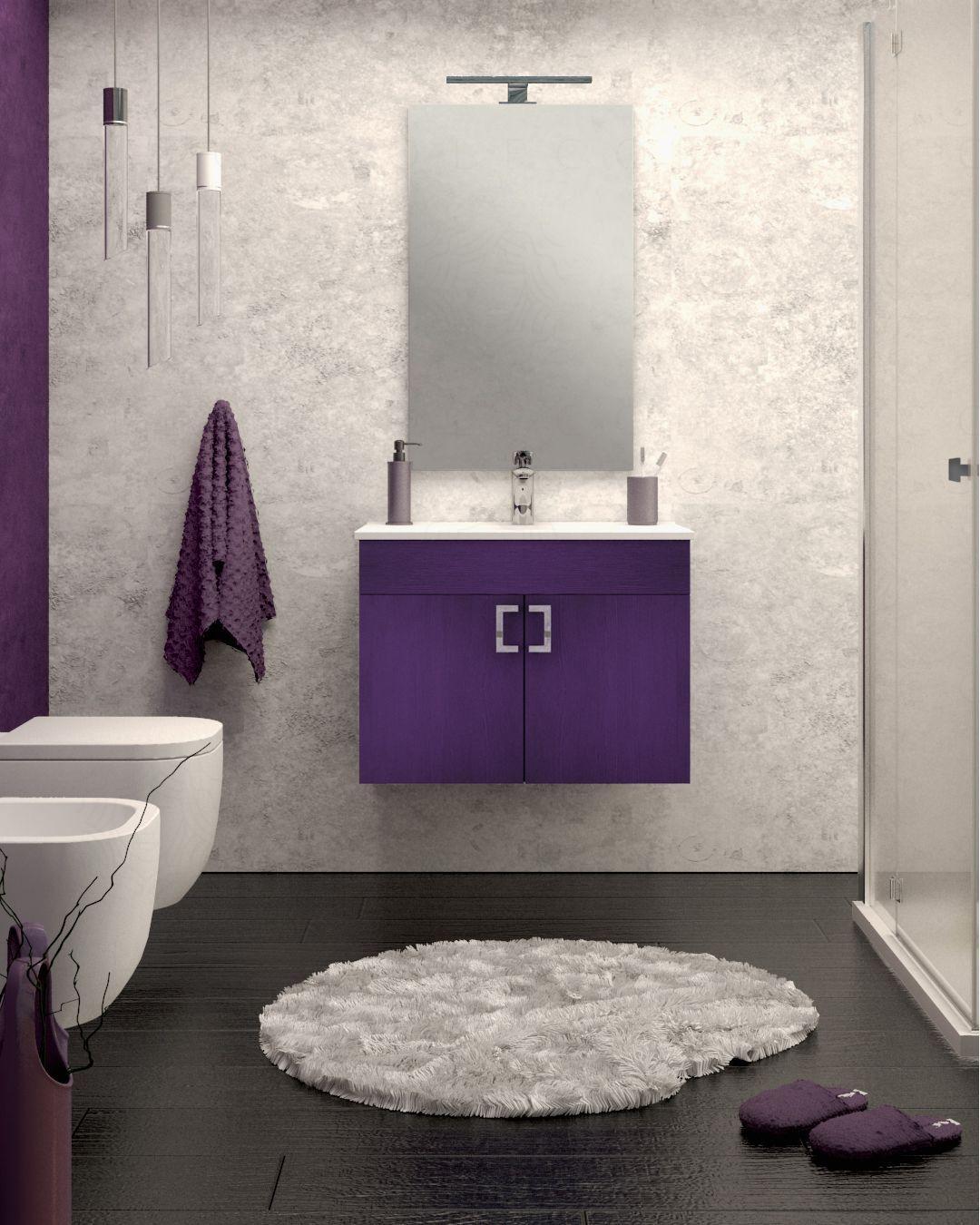 Mobile Bagno Sospeso Viola Cm 74 Completo Di Specchio Boleco