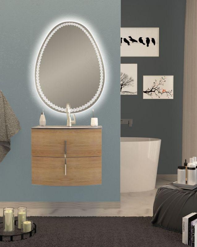 Mobile bagno sospeso Jane, curvo, cm.69 con specchio led