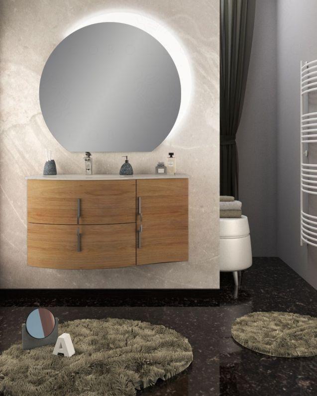 Mobile bagno sospeso Jane, curvo, cm.104 con specchio led