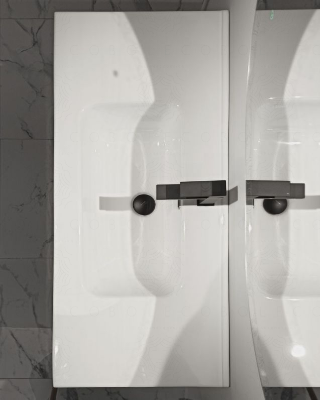 Mobile bagno sospeso Alaska con frontali in vetro, cm.100 e