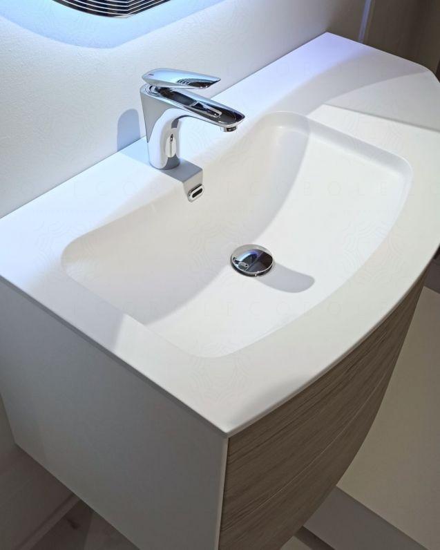 Mobile bagno sospeso Olimpia rovere grigio, cm.90
