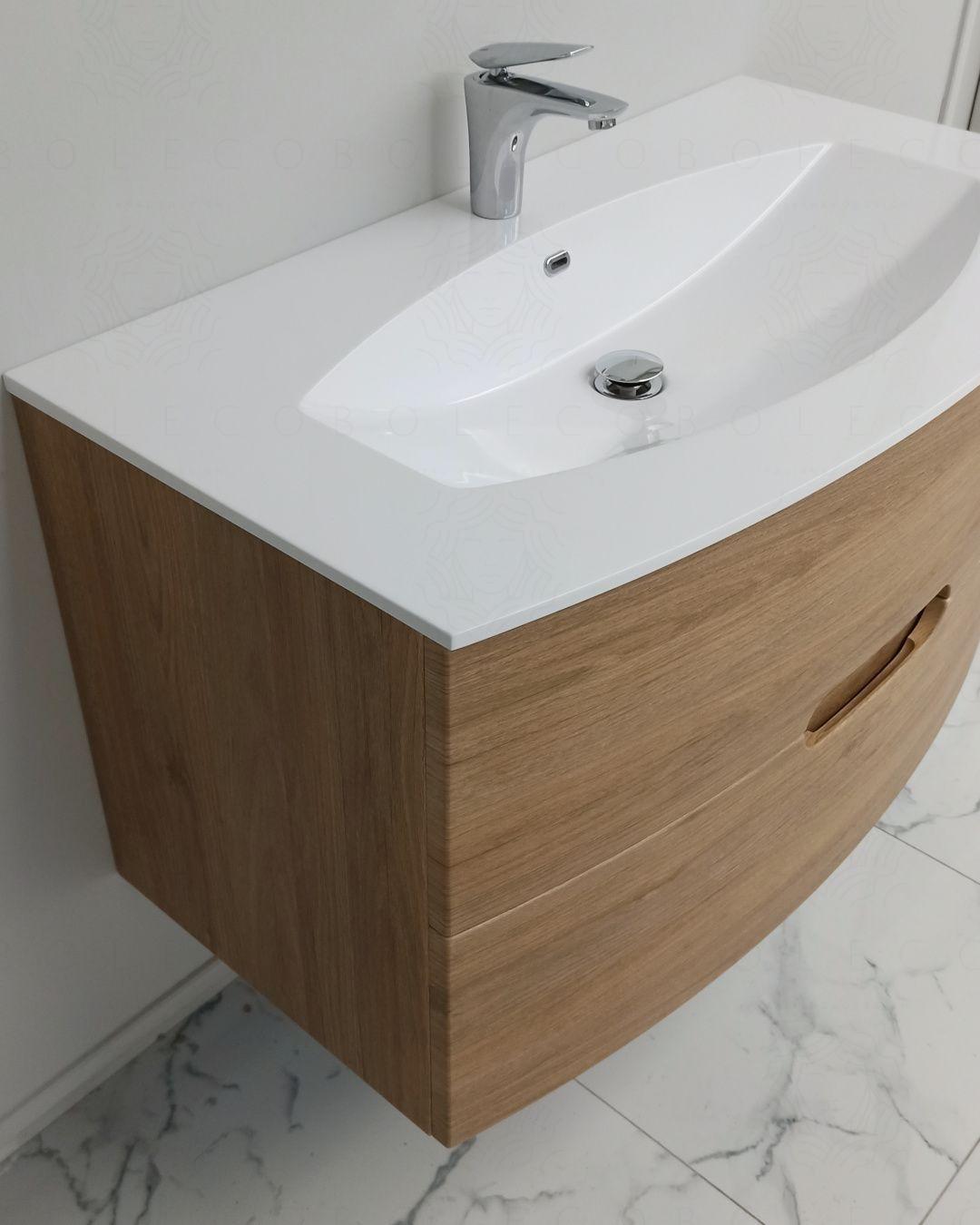 Mobile bagno sospeso Lady, curvo, cm.100 con specchio led