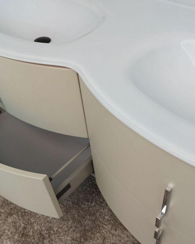 Mobile bagno sospeso Jane, curvo, cm.138 con specchio led