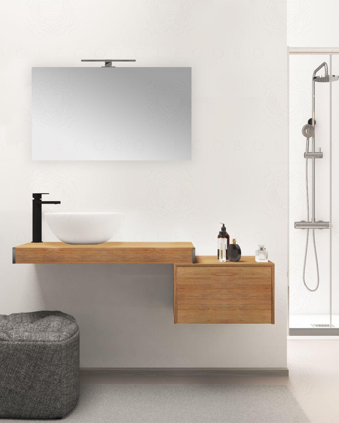 Mensolone bagno cm.90, completo di staffe regolabili, lavabo in