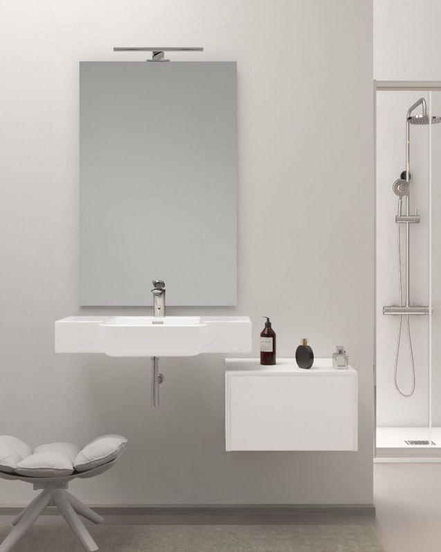 Mobile bagno sospeso Aurora cm.80, completo di specchio
