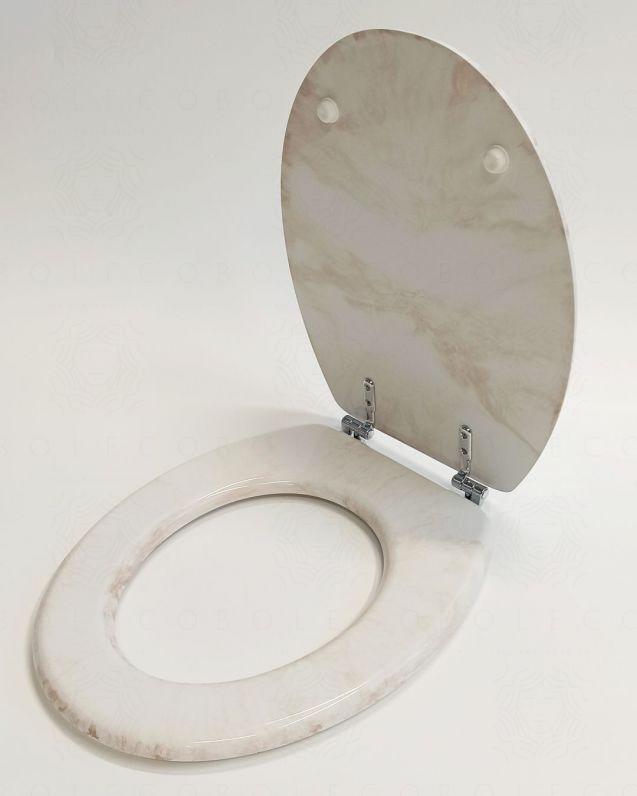 Copriwater universale in poliestere, effetto marmorizzato beige