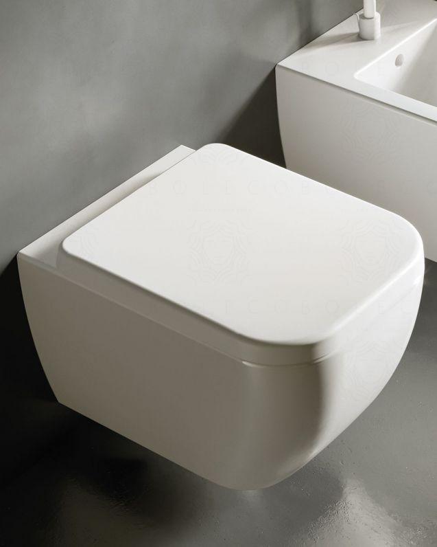 Vaso sospeso in ceramica Bianca, copriwater soft-close compreso