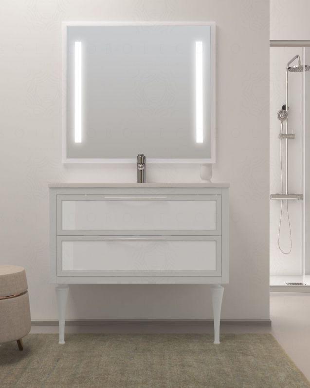 Mobile bagno con piedi Topazio bianco opaco e frontali in vetro