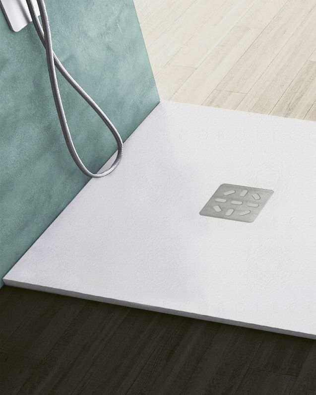 Piatto doccia quadrato bianco opaco, in mineralmarmo, cm.80x80