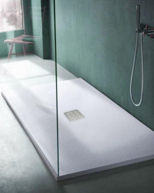 Piatto doccia rettangolare bianco opaco, in mineralmarmo