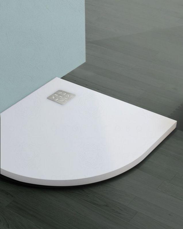 Piatto doccia circolare bianco opaco, in mineralmarmo, cm.90x90