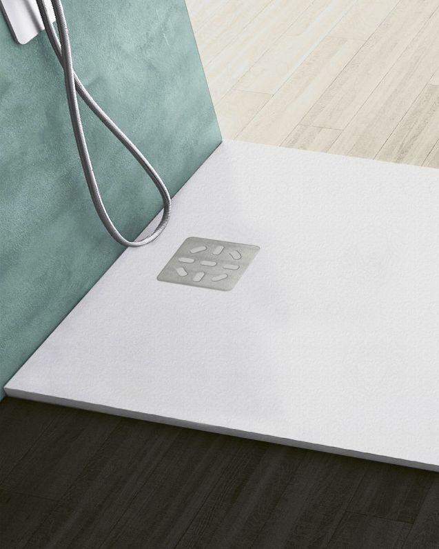 Piatto doccia quadrato bianco opaco, in mineralmarmo, cm.100x100