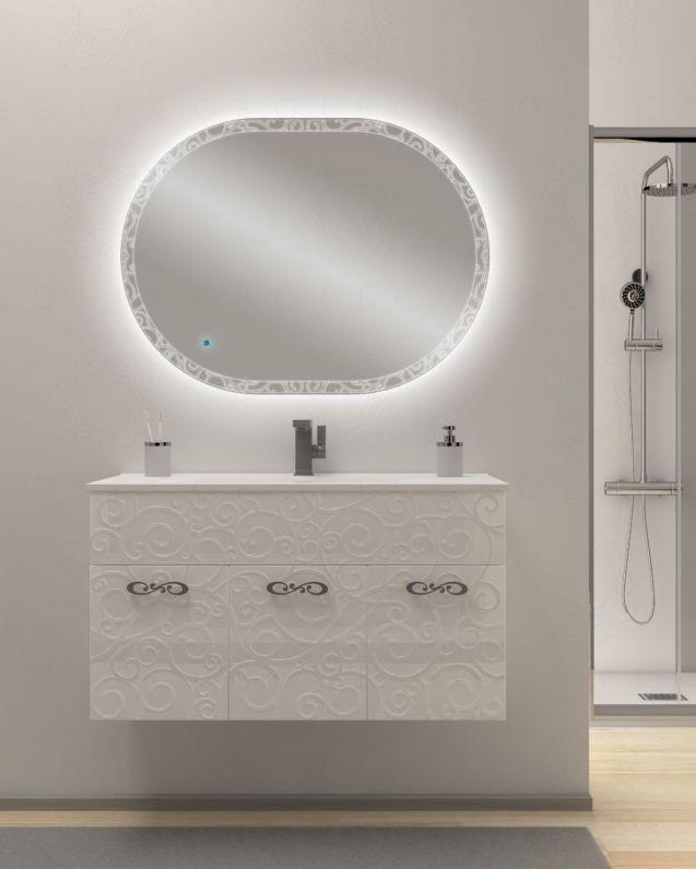 Mobile bagno sospeso Noemi cm.100 con lavabo in ceramica e