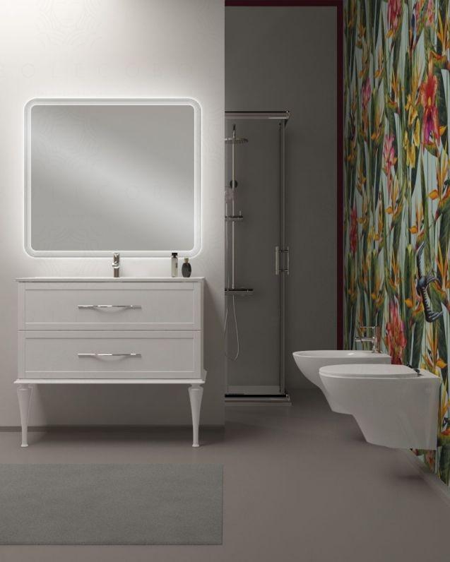 Bagno completo di mobile bianco opaco 100cm, box doccia 80x80