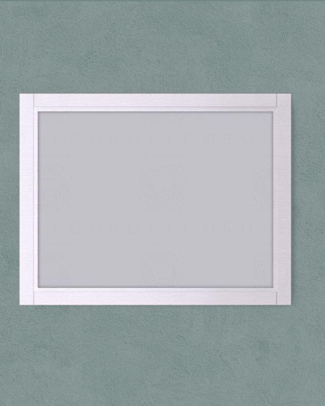 Specchio rettangolare con cornice larice bianco, cm. 90X70