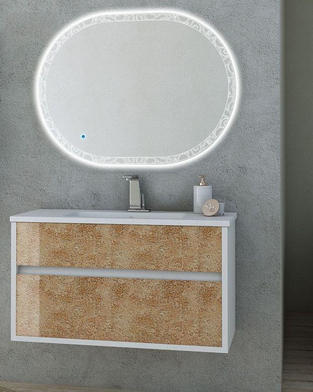Mobile bagno Margherita bianco opaco con frontali in vetro