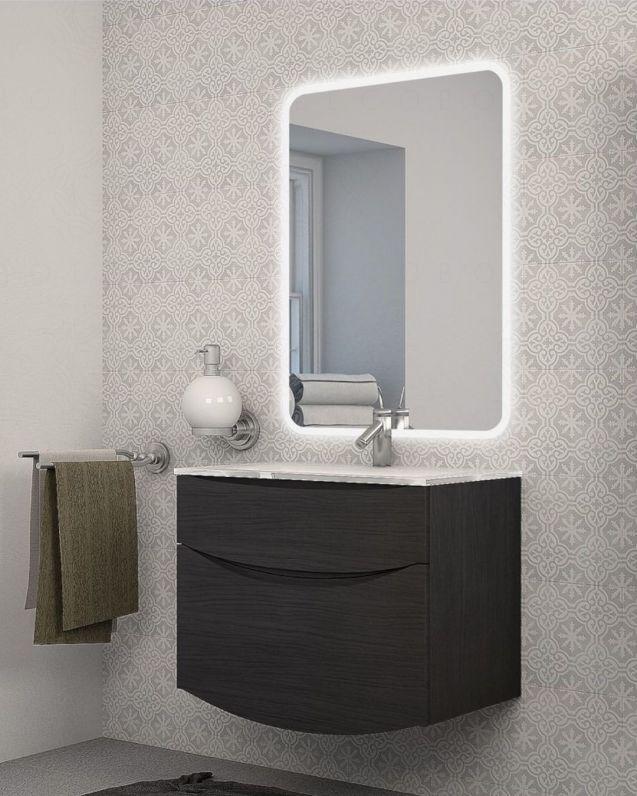 Mobile bagno sospeso Gioia larice scuro, cm.74, con lavabo in