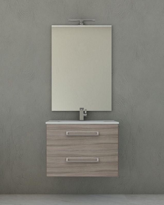 Mobile bagno sospeso Giusy cm.74, con lavabo in ceramica