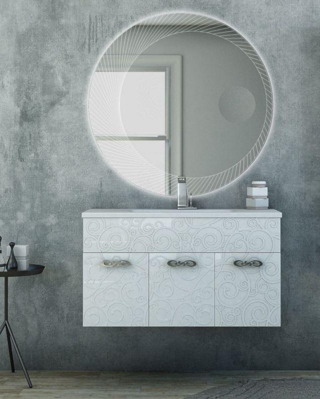 Mobile bagno sospeso Noemi cm.100 con lavabo in ceramica
