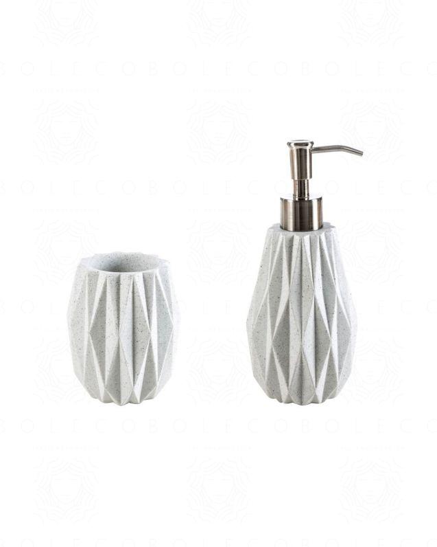 Set accessori Geo, bianco, con dispenser e bicchiere