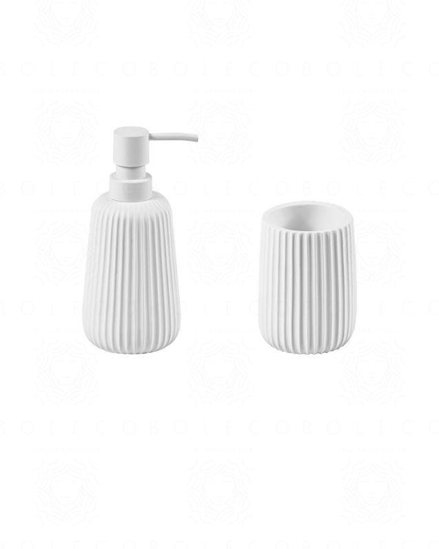 Set accessori Plisse d'appoggio, bianco opaco, con dispenser e