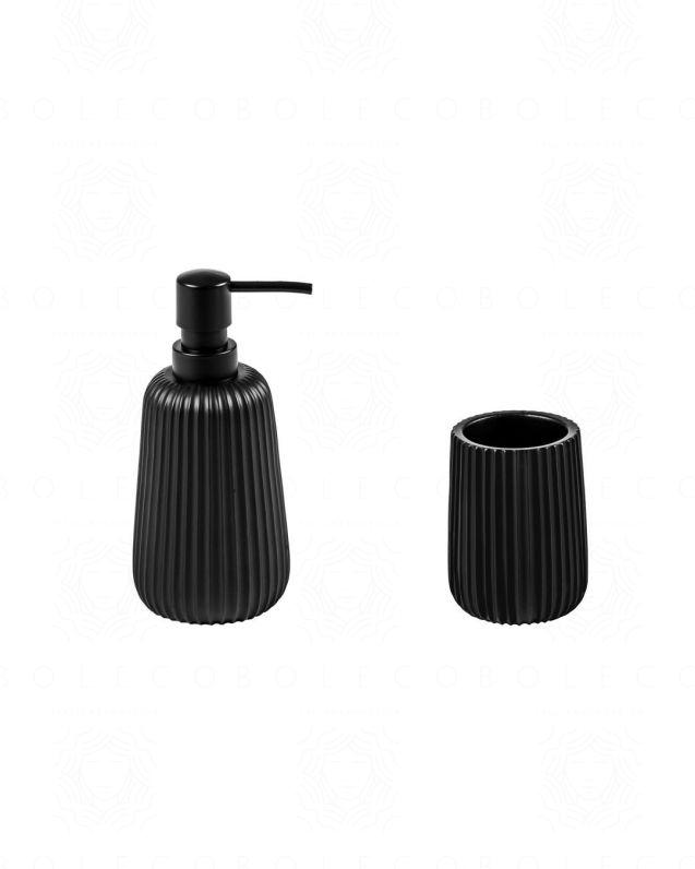 Set accessori Plisse d'appoggio, nero opaco, con dispenser e