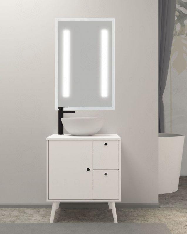 Mobile bagno Veronica con piedi, cm.65, completo di lavabo di