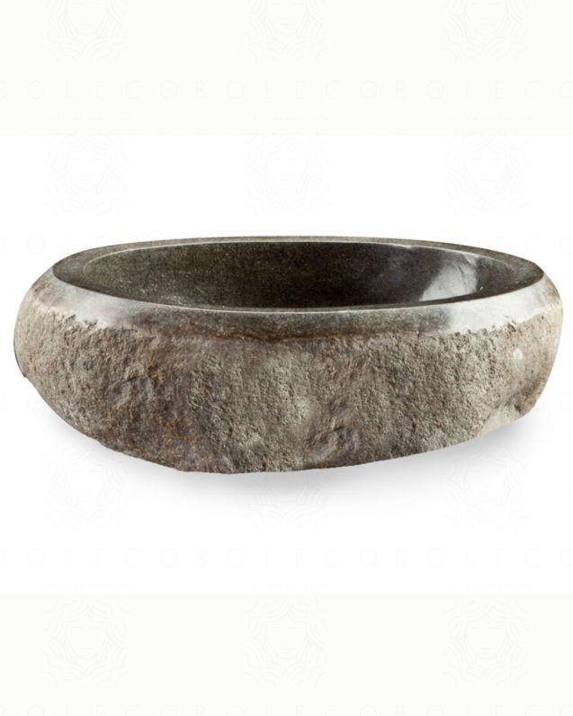 Lavabo di appoggio Joya in pietra di fiume, diametro 45/58