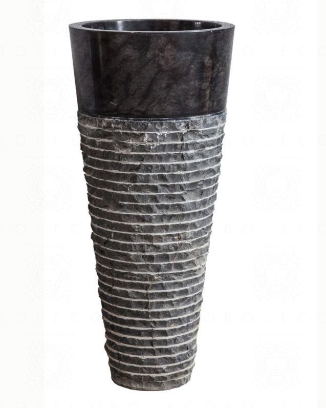 Lavabo freestanding rotondo h90, in marmo naturale nero