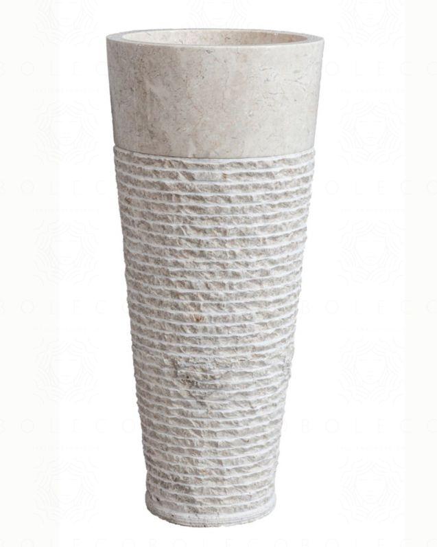 Lavabo freestanding rotondo h90, in marmo naturale avorio