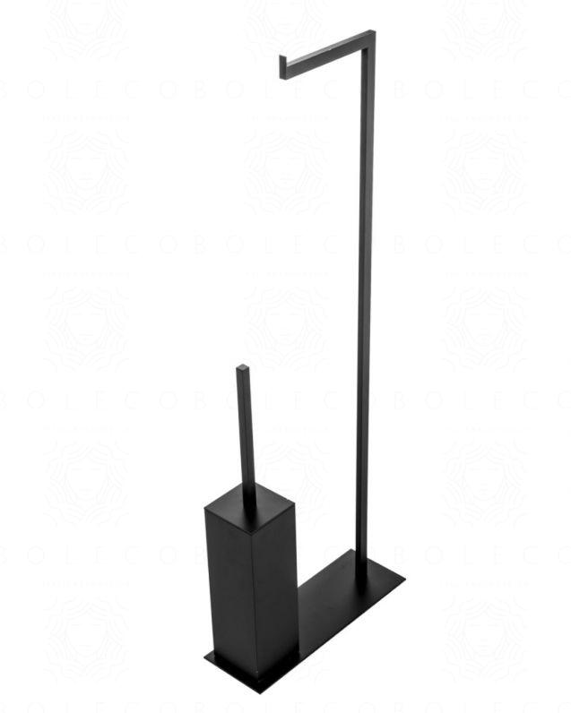 Piantana porta rotolo e porta scopino, nero opaco, made in Italy