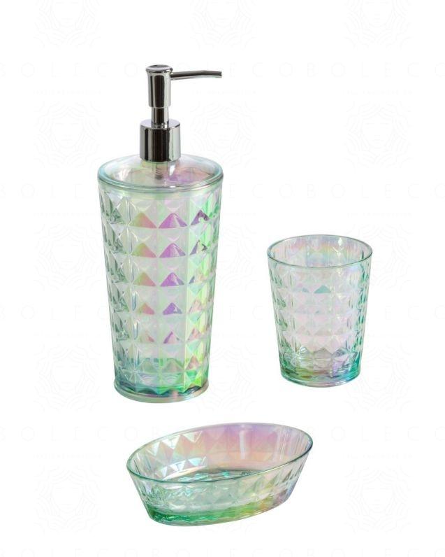 Set accessori Iride d'appoggio, con dispenser, bicchiere e