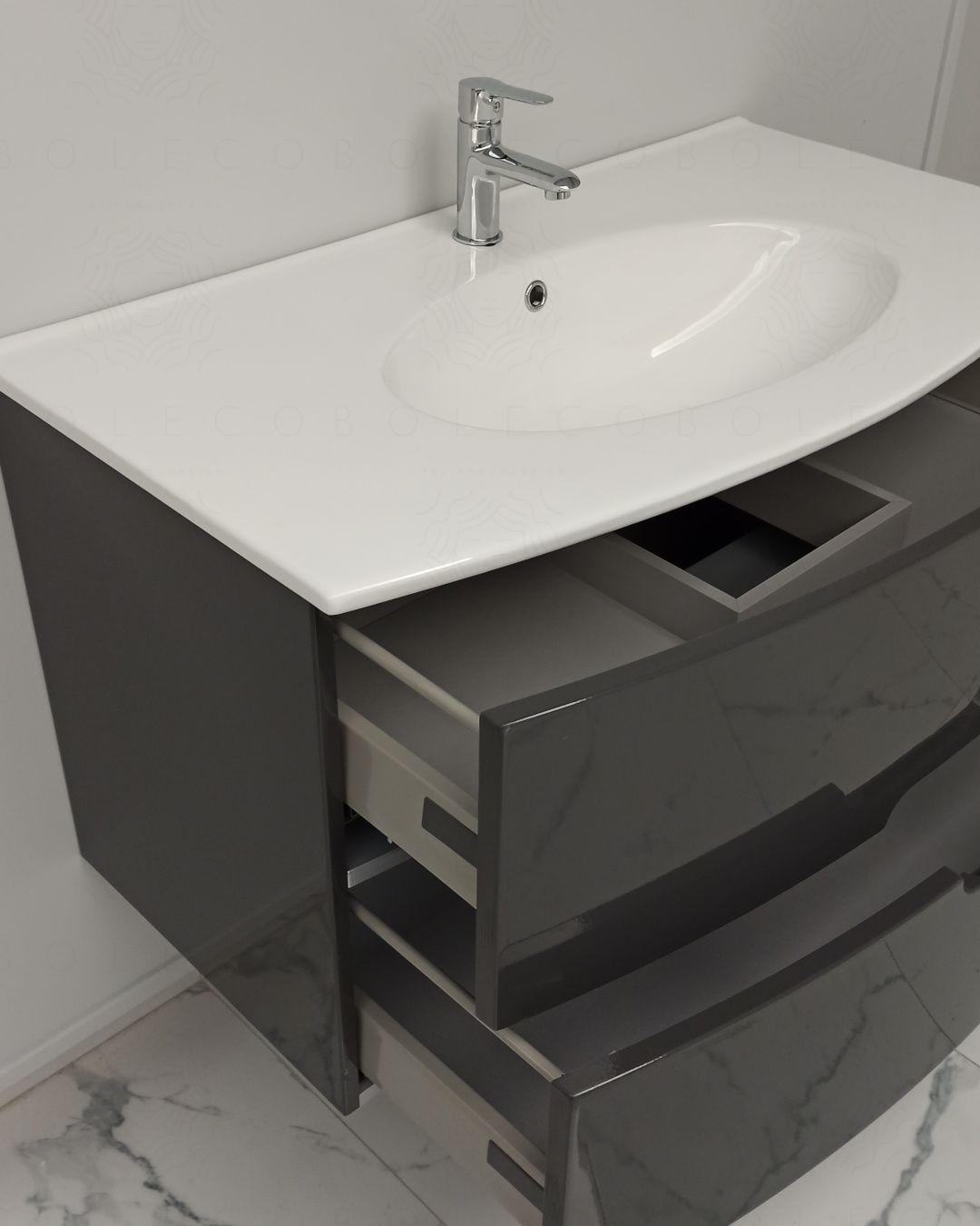 Mobile bagno sospeso Lady, curvo, con lavabo in ceramica, cm.100