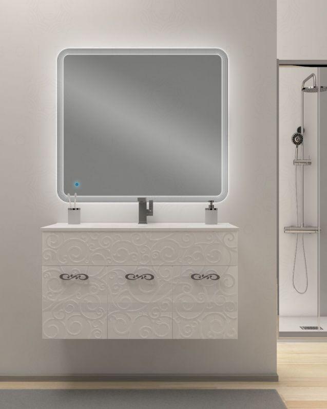 Mobile bagno sospeso Noemi, con lavabo in ceramica e specchio