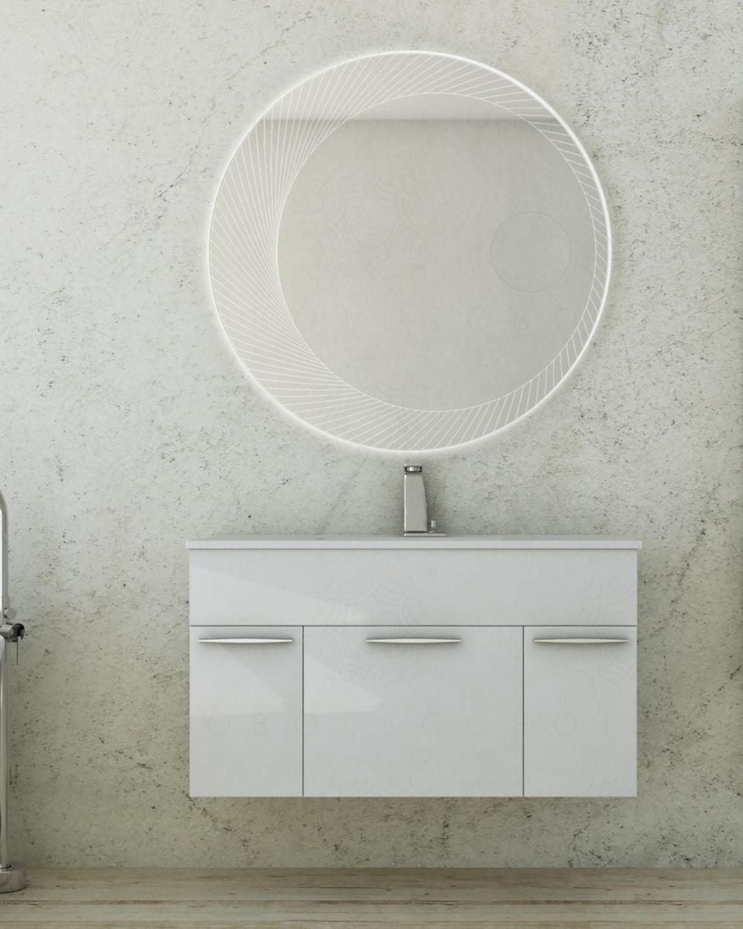 Mobile bagno sospeso Adele bianco lucido con lavabo in